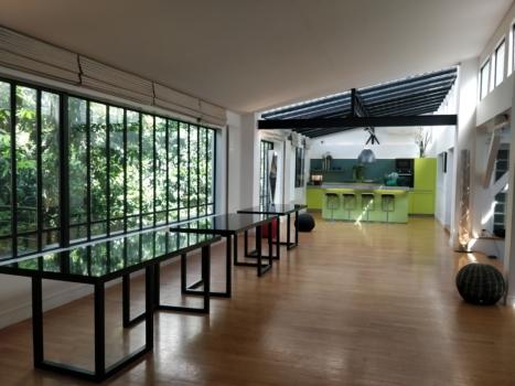 un loft d 39 architecte avec patio salles parisiennes. Black Bedroom Furniture Sets. Home Design Ideas